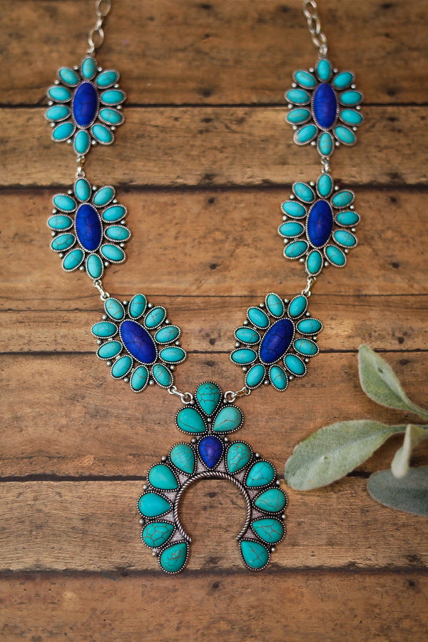 Cluster Squash Blossom Necklace in Turquoise and Blue