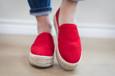 Trust Your Path Suede Platform Espadrille Flats in Red