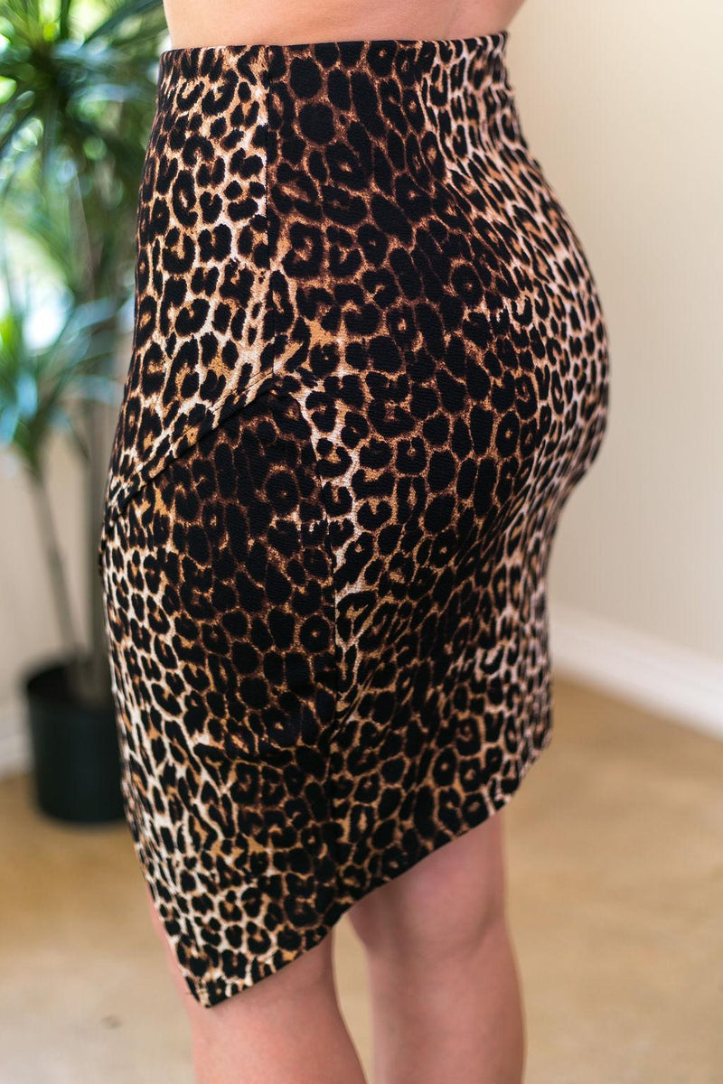 Bold Attitude Wrap Around Bandage Pencil Skirt in Leopard