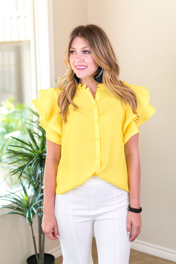 Frills and Thrills Button Down Top with Ruffled Sleeves in Yellow
