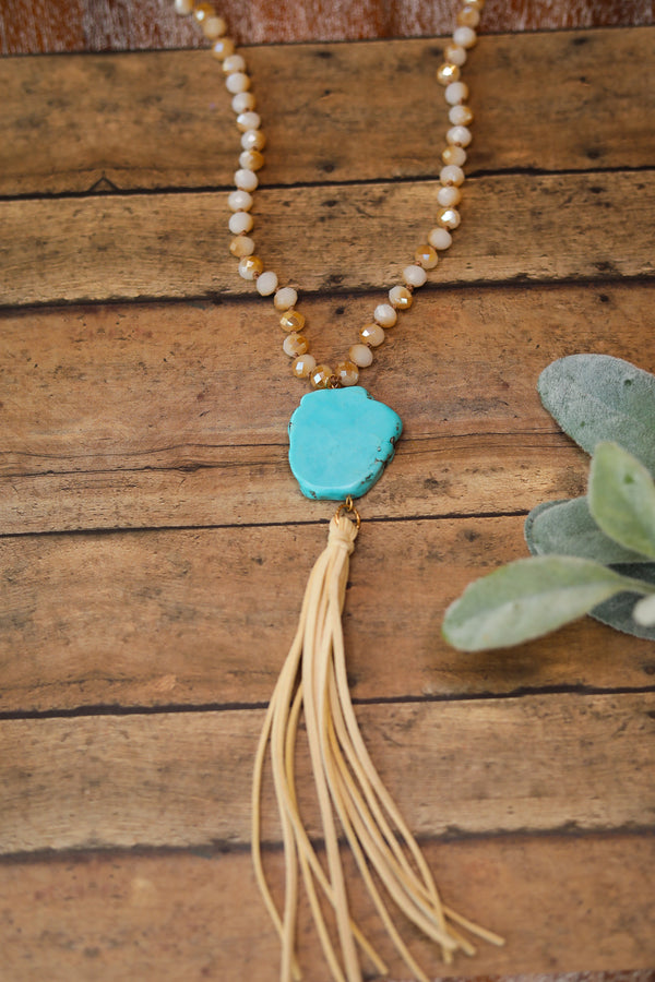 Turquoise Stone Necklace with Ivory Crystals and Ivory Tassels