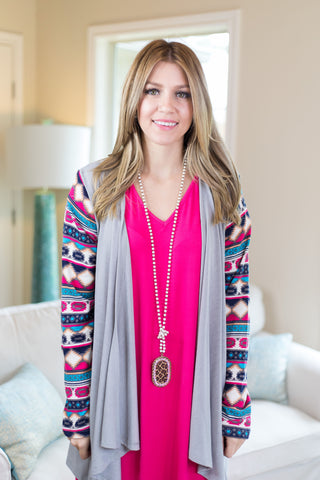 Waiting To Go Aztec Sleeve Cardigan in Grey