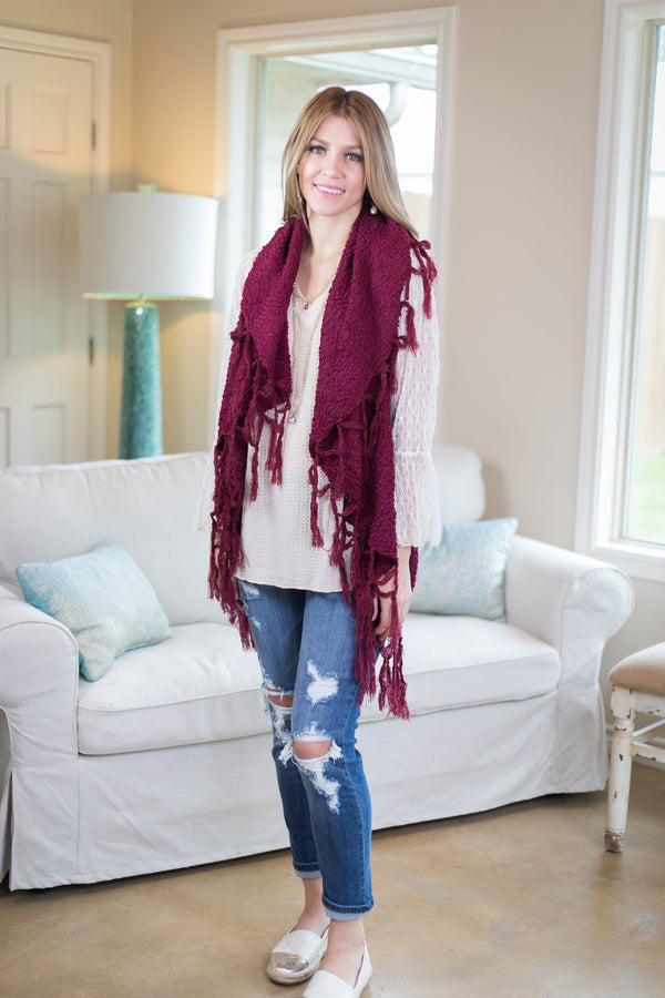 Sunday Sights Vest with Tassel Trim in Maroon