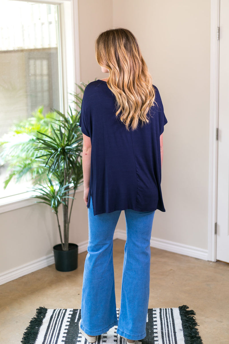 Everyday Basics Drop Sleeve Solid Piko Top in Navy Blue