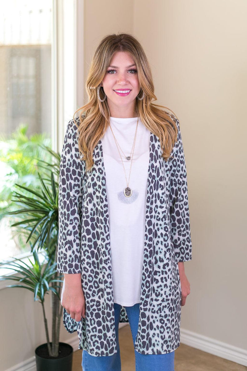 All Eyes On You Leopard Cardigan in Mint and Grey