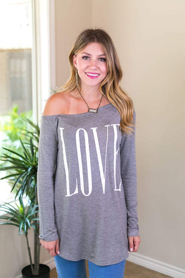 Online Exclusive | Some Say Love Long Sleeve One Shoulder Top in Grey love quote valentines day warm comfy casual top