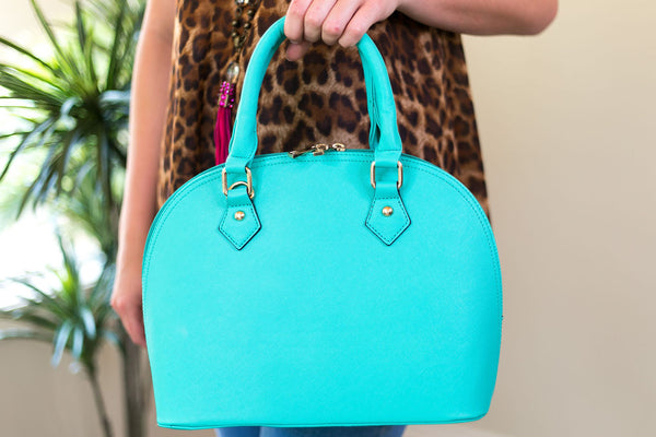 Designer Inspired Medium Dome Satchel in Mint