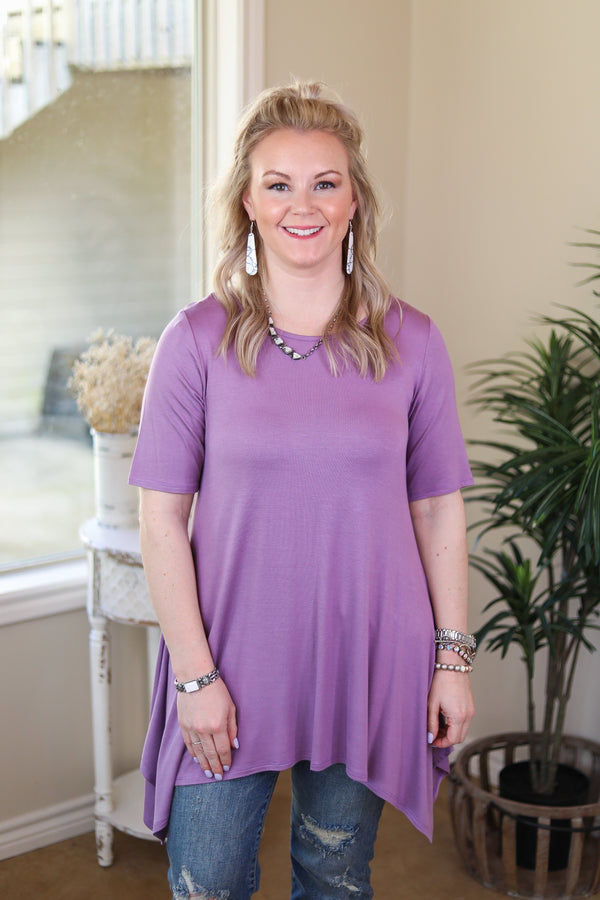 Whenever This Happens Solid Handkerchief Tunic Top in Lavender