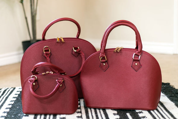 Designer Inspired Small Dome Satchel in Wine