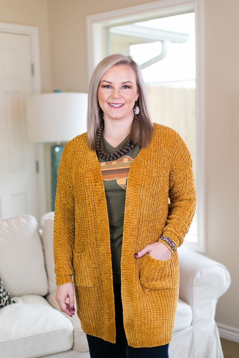 All Day Long Chenille Cardigan in Mustard Yellow