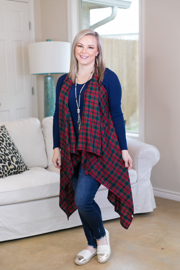 Holiday Cheer Woven Plaid Vest in Red