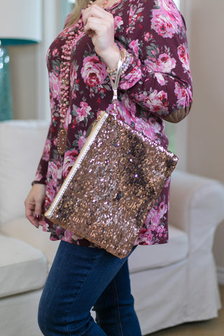 Glimmering Light Sequin Wristlet Purse in Rose Gold