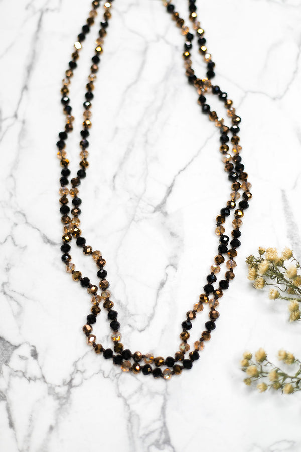 60 Inch Long Layering 8mm Crystal Strand Necklace in Bronze and Black