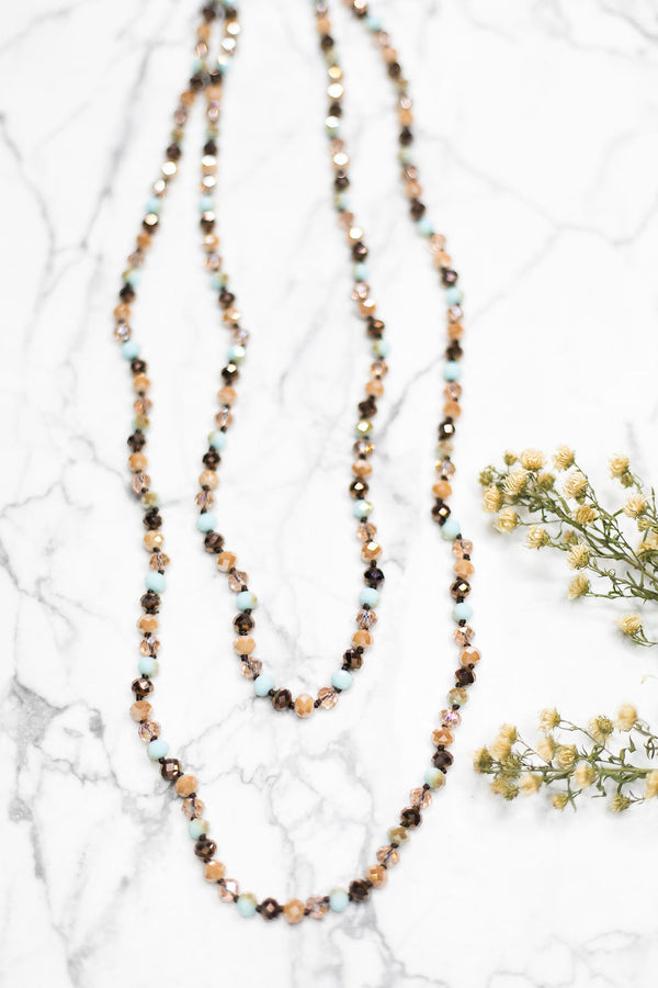 60 Inch Long Layering 8mm Crystal Strand Necklace in Aqua and Brown