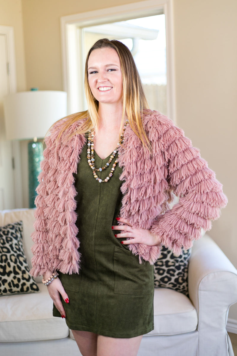 All Shook Up Fuzzy Faux Fur Jacket in Blush Pink