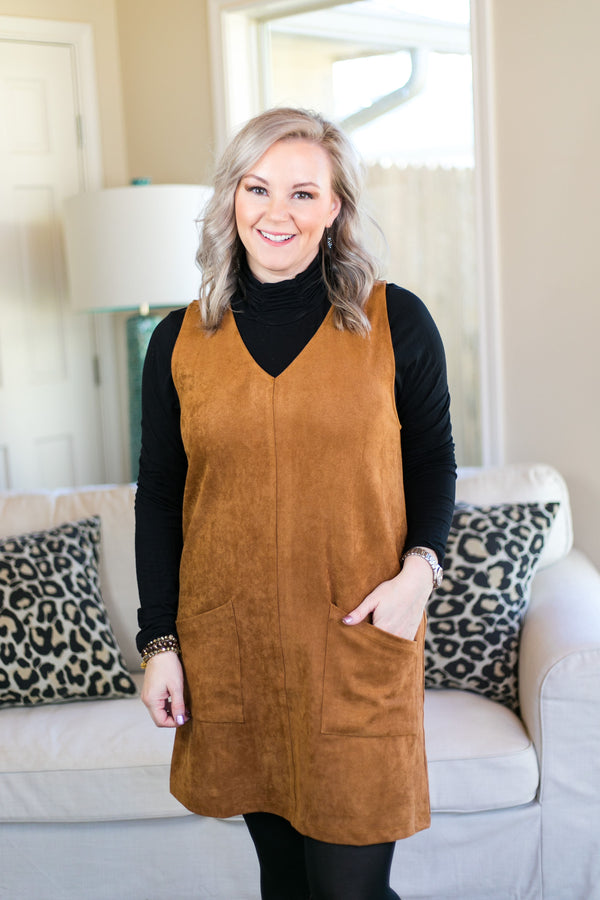 Not Worried Corduroy Dress with Pockets in Camel Brown