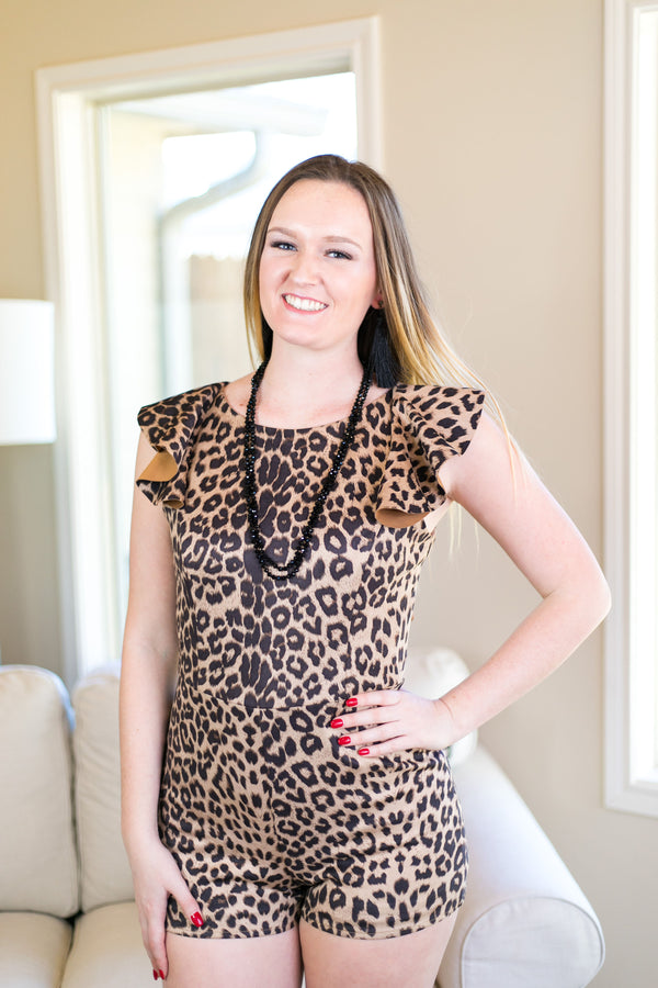 Easy to Spot Suede Romper in Leopard