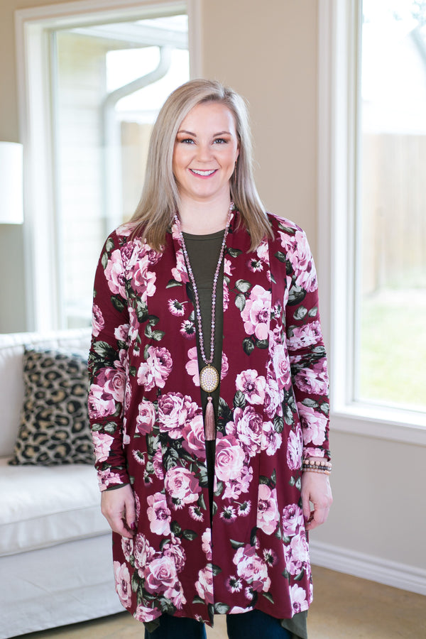 Garden Party Floral Print Cardigan in Maroon