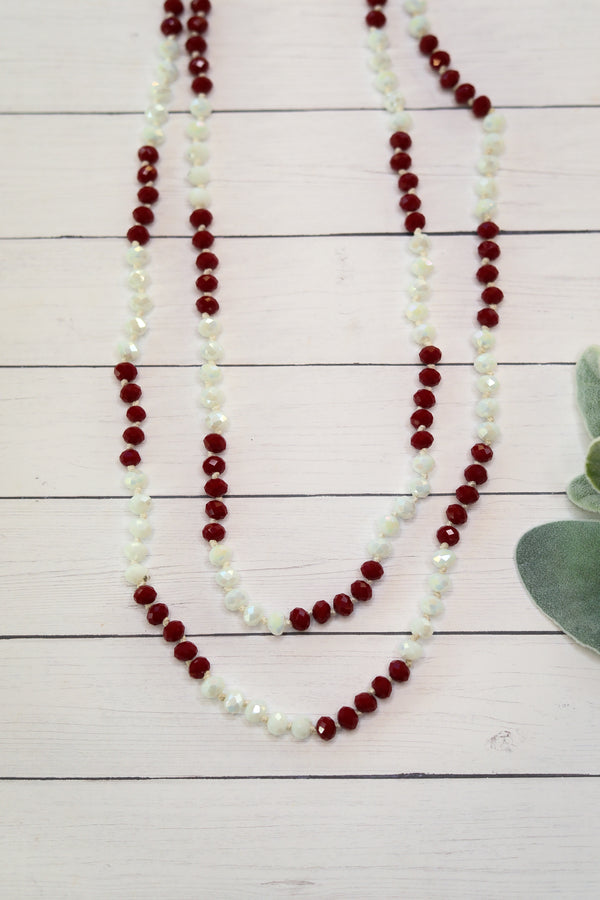 60 Inch Long 8 mm Layering Crystal Strand Necklace in Maroon and White