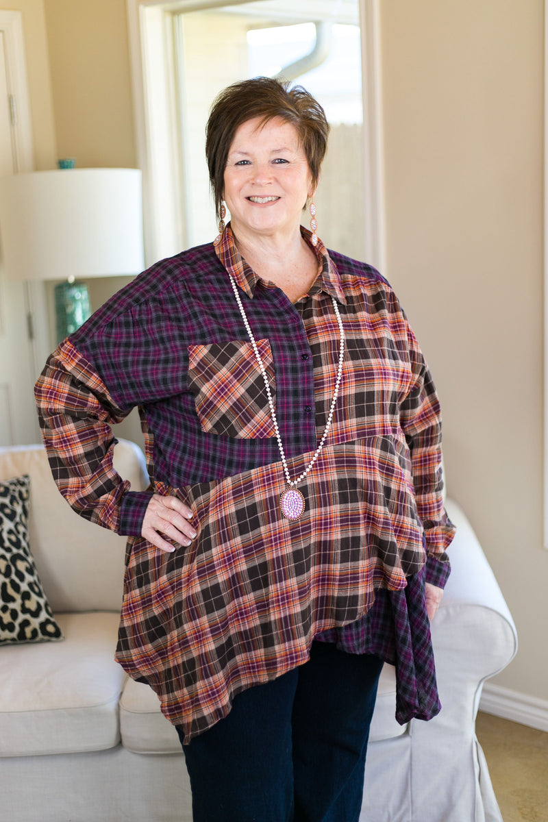 Watch The Reactions Mixed Plaid Top with Asymmetrical Hem in Plum