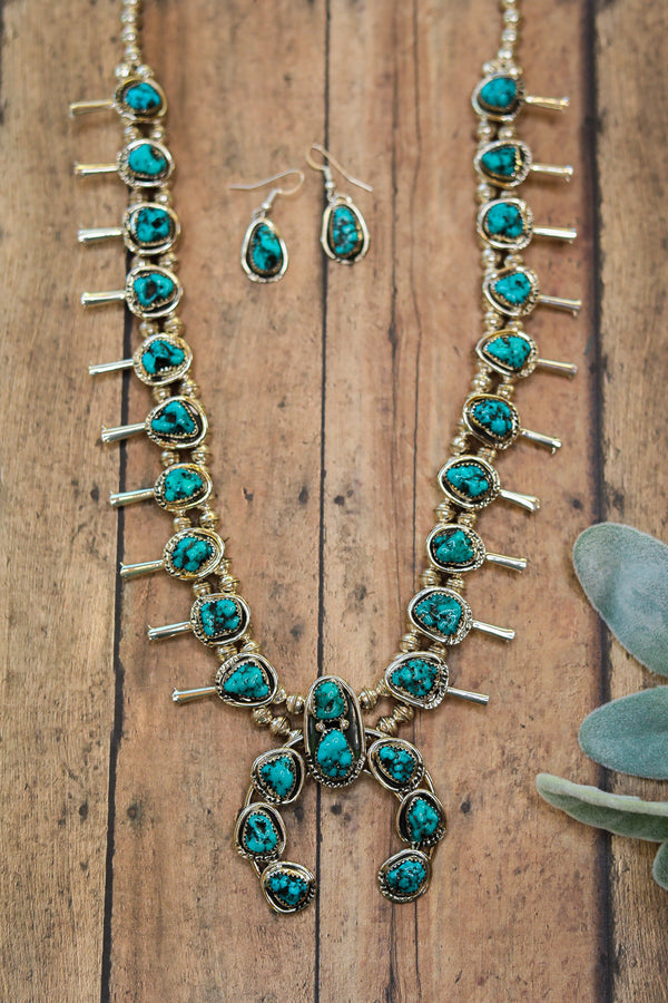 Gloria Pinto | Zuni Handmade Sterling Silver Navajo Pearl and Kingman Turquoise Squash + Naja Necklace