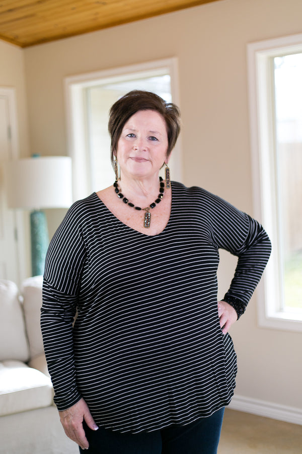 A Friend of Mine Striped Piko Top in Black