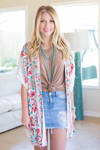 Surely Summer Floral Embroidered Kimono in Off White