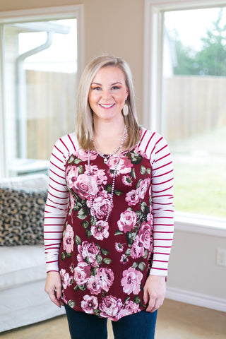 Simple Favor Stripe and Floral Tunic Top in Burgundy