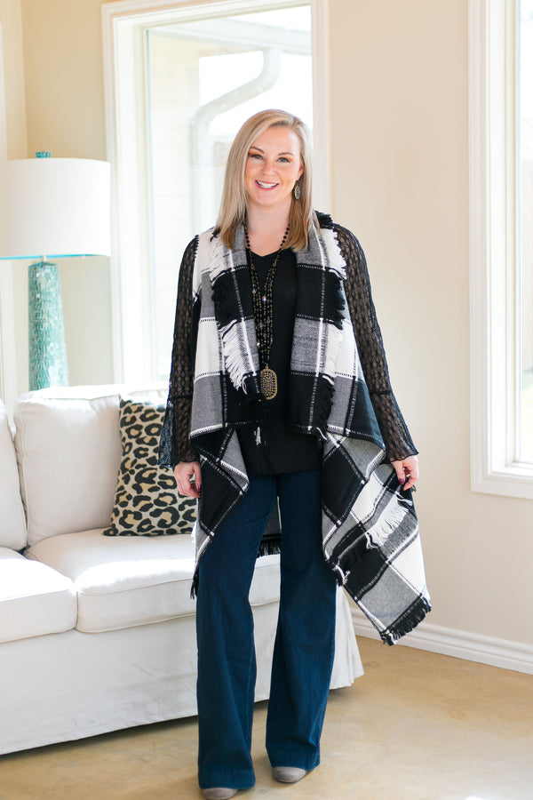 Favorite One Plaid Vest with Frayed Hem in Black & White