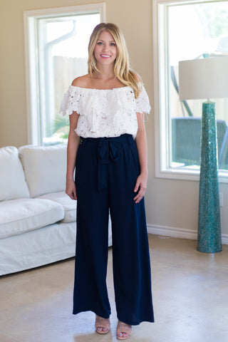 Trendy Days Woven Pants in Navy Blue