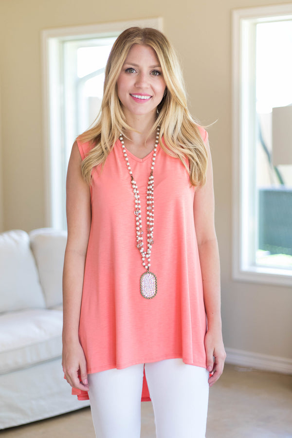 Color My Soul High-Low Tunic in Soft Coral