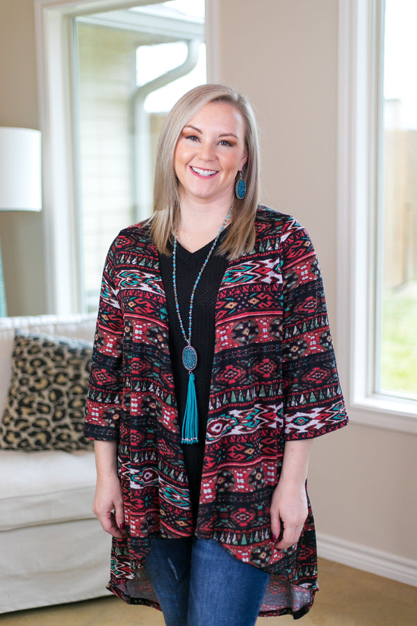 Just One Reason Tribal Print Cardigan in Black