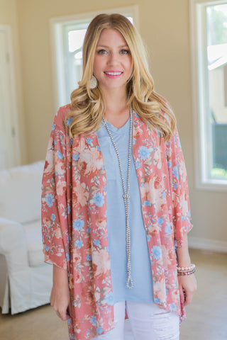 In Bloom With You Sheer Floral Kimono in Peach