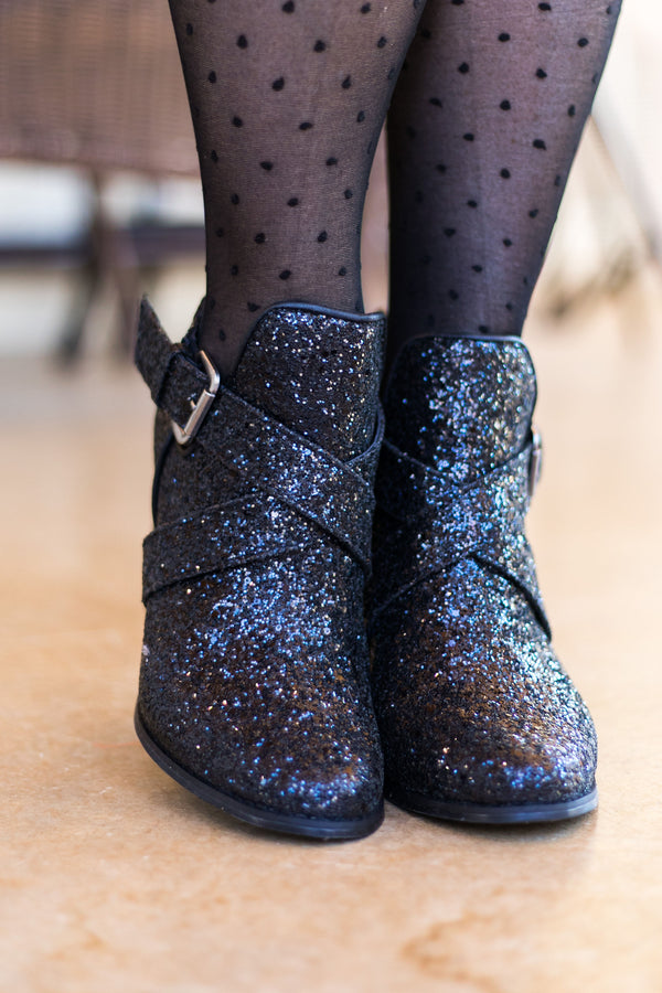 Black Glitter/Sparkly Booties | Very G Trendy Boots Women Shoes