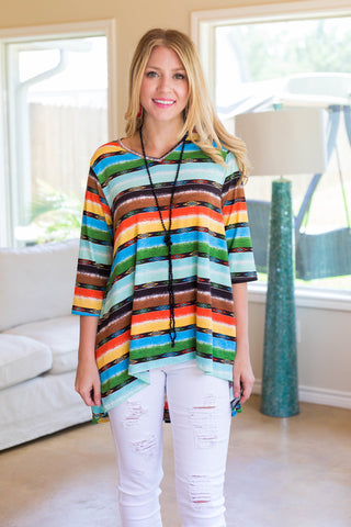 Best In The West 3/4 Sleeve Aztec Printed High-Low Tunic