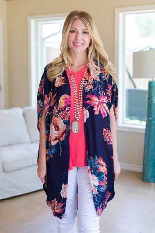Have You Seen The Rain Floral Kimono in Navy Blue