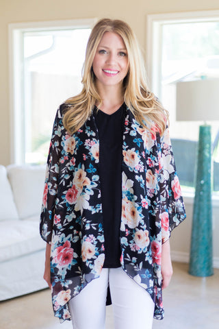 In Bloom With You Sheer Floral Kimono in Black
