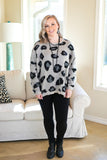Heaven's Touch Large Leopard Print Sweater in Grey