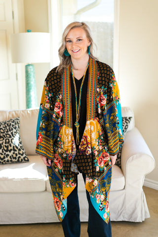 Won't Back Down Floral Draped Kimono in Black