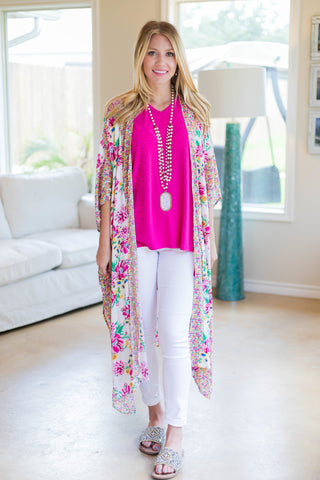 See It All Floral Printed Duster in White with Pink Accents