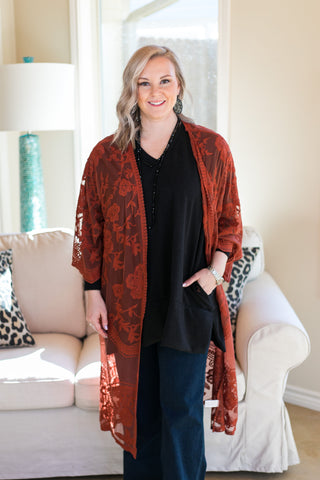 Spring Ahead Crochet Lace Duster in Rust Orange