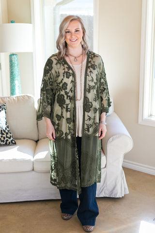 Spring Ahead Crochet Lace Duster in Olive Green