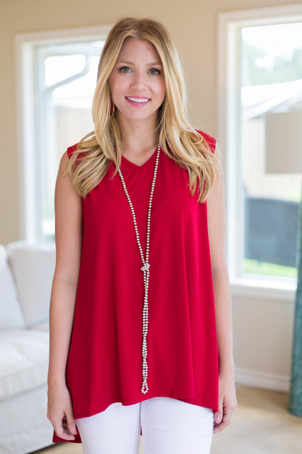 Color My Soul High-Low Tunic in Red