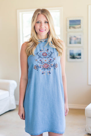 All Sewn Up Floral Embroidered Denim Dress