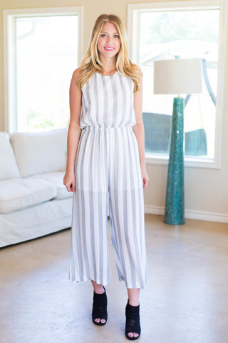 Jump Into Style Striped Jumpsuit in Grey and White