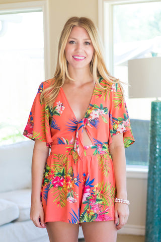 Tropical Rhythm Romper with Front Tie in Coral