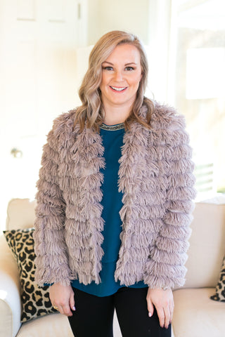 All Shook Up Fuzzy Faux Fur Jacket in Grey