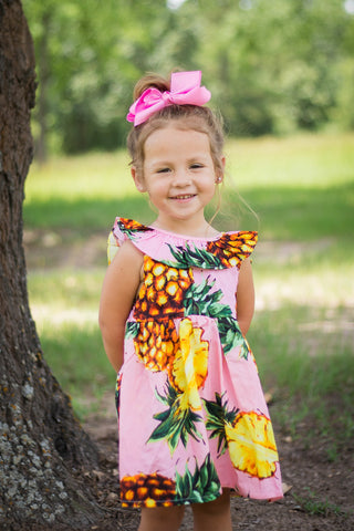 Children's Pink Pineapple Ruffled Dress