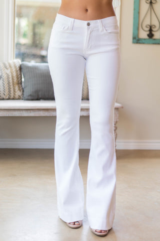Classified Business Fitted and Flare Trouser in White