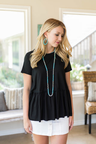 Lavish Love Short Sleeve Peplum Top in Black